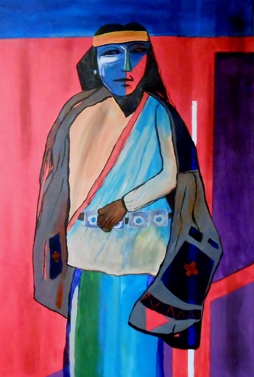 Cathy Allen<br>The Turquoise Trader<br>Acrylic<br>36 x 48