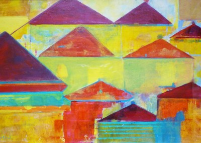 Yellow Town: 2012<br>Acrylic<br>13 x 20
