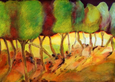 Morning Stroll: 2011<br>Watercolor<br>11 x 15