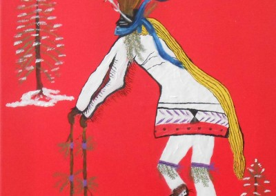 Taos Pueblo Christmas Eve Deer Dancer<br>12 x 12<br>Acrylic