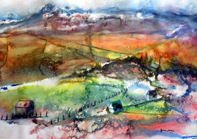 On the Way to Ridgeway<br>Watercolor<br>20 x 27