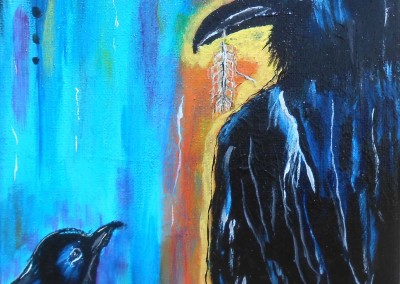 When Raven Stole Crow's Food<br>(based on a native- american tale)<br>8 x10<br> acrylic