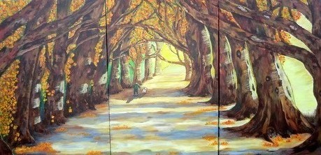 I Am the Light of the World<br>Acrylic<br>(3) 24 x 36 panels<br>8' x 3' total dimensions<br>Hung on church sanctuary wall