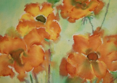 Poppies<br>Dye on Raw Silk<br>20 x 25<br>1 of 6 used for dining room seat covers